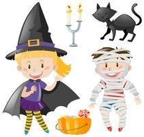 Crianças, em, halloween, equipamento vetor