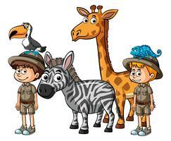 Funcionários do zoológico e muitos animais