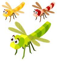 Três libélulas em design 3D