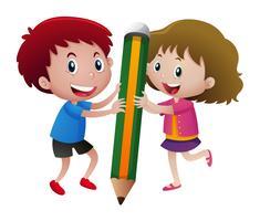 Crianças, escrita, com, grande, lápis vetor