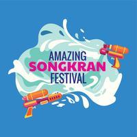 Festival Songkran de fundo e pistola de água da Tailândia vetor