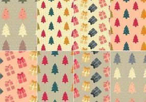 Pacote de padrões vetoriais de árvore de natal e presentes