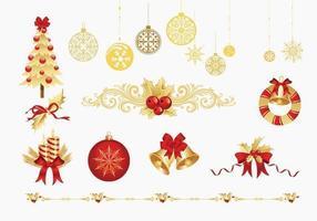 Pacote dourado dos elementos do vetor do Natal