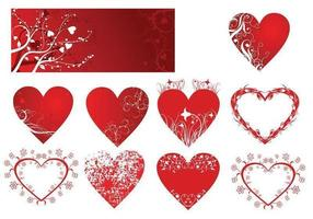 Pacote de vetores de corações florais