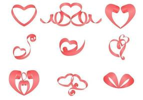 Pacote de vetores de coração de fitas