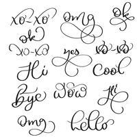 Palavras curtas do vetor no fundo branco. Mão desenhada vintage caligrafia letras ilustração Eps10