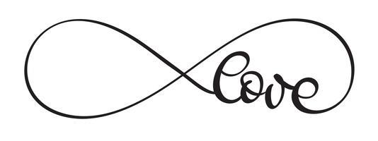 Palavra de amor em fundo branco. Mão desenhada caligrafia letras ilustração vetorial Eps10