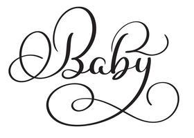 Palavra do bebê no fundo branco. Mão desenhada caligrafia letras ilustração vetorial Eps10 vetor