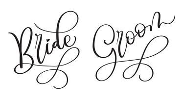 Texto tirado mão do vetor do vintage da noiva do noivo no fundo branco. Caligrafia, lettering, ilustração, EPS10