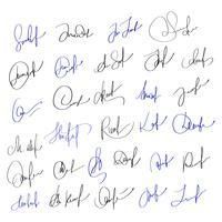 Assinatura manual para documentos em fundo branco. Mão desenhada caligrafia letras ilustração vetorial Eps10 vetor