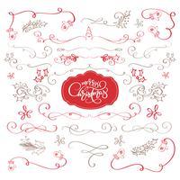 Inverno conjunto de elementos decorativos caligráficos Feliz Natal, divisores e enfeites de ano novo para a decoração da página. Rotulação do vetor