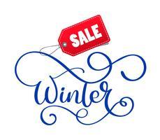 Mão de venda de inverno escrita inscrição no fundo branco de Natal