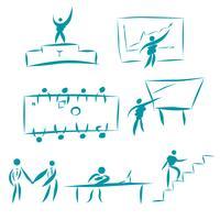 Conjunto de caracteres de pessoas de negócios. Recolha de situações de trabalho de escritório. Ilustrações para conceitos de negócios, web, ícones, infográficos, design de logotipo. Isolado no fundo branco vetor