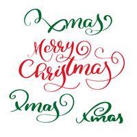 Texto caligráfico da rotulação do vetor vermelho do Feliz Natal e grupo de texto verde do xmas para cartões do projeto. Poster de presente de saudação de feriado. Caligrafia moderna fonte
