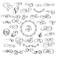 conjunto de corações de florescer vintage de caligrafia e whorls. Mão de ilustração vetorial desenhada 10 EPS