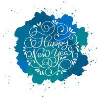 Texto de caligrafia de feliz ano novo em fundo azul vetor abstrato com brilhos. Modelo de design de cartão