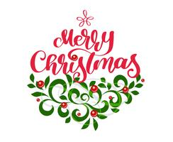 O texto e o vintage vermelhos da rotulação da caligrafia do Feliz Natal florescem ramos de árvore verdes do abeto. Ilustração vetorial