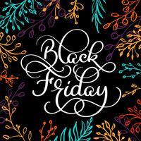 Texto da caligrafia de Black Friday no fundo preto do colorwater da escova com quadro dos ramos. Mão desenhada lettering ilustração vetorial