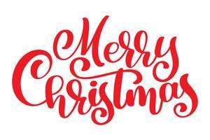 texto vermelho feliz Natal mão escrita letras de caligrafia. ilustração vetorial artesanal. Tipografia de tinta pincel divertido para sobreposições de foto, impressão de t-shirt, panfleto, design de cartaz