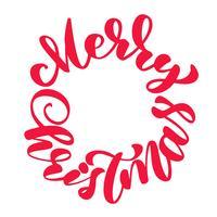 textos mão de Natal feliz escrita em uma rotulação de caligrafia de círculo. ilustração vetorial artesanal. Tipografia de tinta pincel divertido para sobreposições de foto, impressão de t-shirt, panfleto, design de cartaz vetor