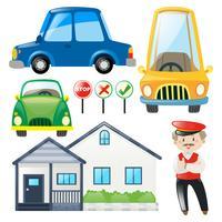 Conjunto de carros e casa vetor