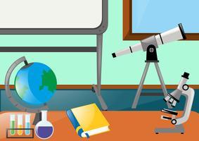 Equipamento de ciências em sala de aula vetor