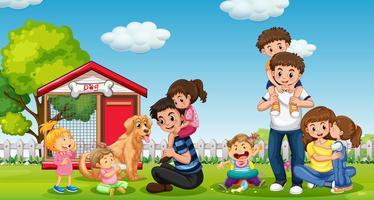 Família feliz no parque vetor