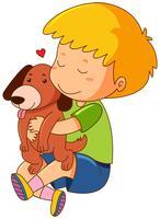 Garotinho beijando cão de estimação vetor