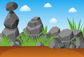 Pedras cinzentas no jardim vetor