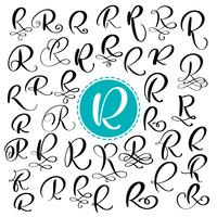Conjunto letra R. Caligrafia de floreio de vetor de mão desenhada. Fonte de script. Letras isoladas escritas com tinta. Estilo de pincel manuscrito. Letras de mão para cartaz de design de embalagem de logotipos