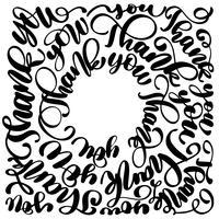 Obrigado inscrição manuscrita moderna, disposta em um círculo. Letras de mão desenhada. Obrigado caligrafia. Cartão de agradecimento. Ilustração vetorial