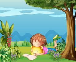 Um, menina, com, um, urso, lendo um livro vetor
