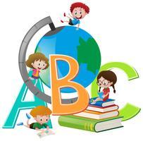 Quatro crianças, com, globo, e, livros vetor