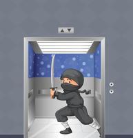 Um ninja dentro do elevador vetor