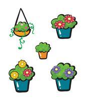 Vasos de flores vetor