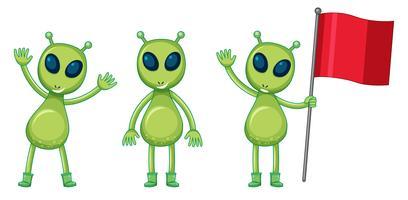 Três, verde, aliens, com, bandeira vermelha vetor