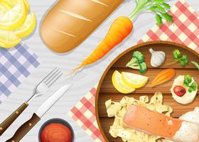 Um, saudável, salmão, macarronada, ligado, tabela vetor