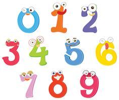 Número de zero a nove com expressões faciais vetor