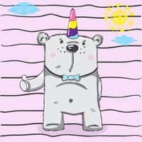 fofo urso pequeno unicórnio