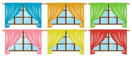 Janelas com cortinas de cores diferentes vetor