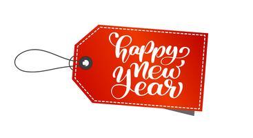 Texto de mão-rotulação de feliz ano novo de marca. Caligrafia feito a mão do Natal do vetor EPS. Decoração para cartão