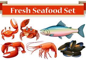 Tipo diferente de frutos do mar frescos vetor