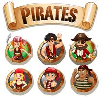Piratas em crachás redondos vetor