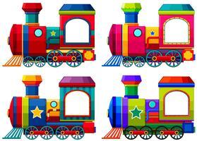 Trens em cores diferentes vetor