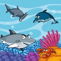 Tubarões selvagens sob o mar vetor