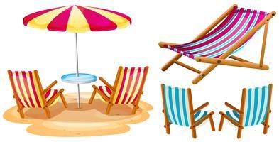 Cadeiras de praia e guarda-chuva vetor