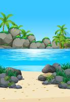 Cena do oceano com ilha e praia vetor