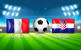 Jogo de futebol entre França e Croácia