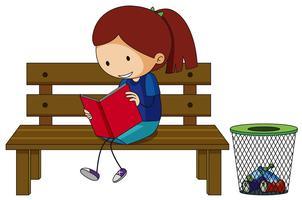 Menina lendo livro no banco vetor