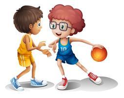 Crianças jogando basquete vetor